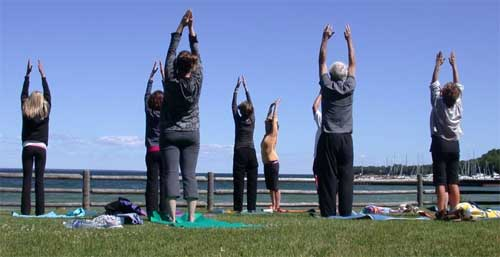 Egg Harbor Beach Yoga in Door County, WI