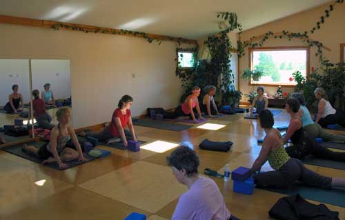 Class in session at Junction Center Yoga Studio